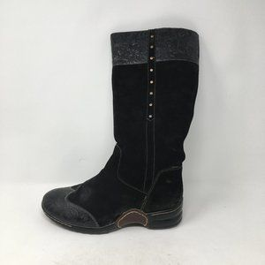 SOFFT BLACK LEATHER SUEDE BOOTS 9.5 W
